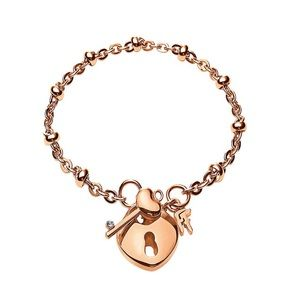 Folli Follie Key and Heart Padlock Charm Bracelet